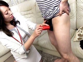 Very naughty Japanese AV model gives a hot mature handjob