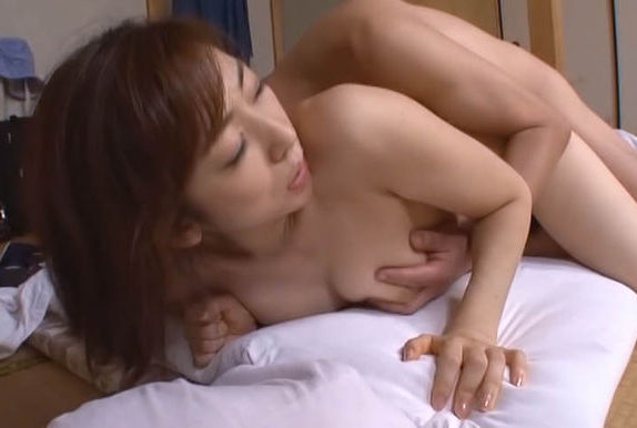 Horny asian mature lady Emiko Koike blows and fucks hot guy