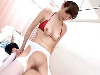 Smokin´ hot shaved Japanese nurse pumps out a load