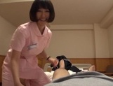 Naughty Asian nurse Yuu Shinoda gives a foot job and bounces on cock picture 7