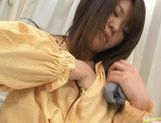 Babe Megu Hayasaka spreads legs and fingers pussy picture 10