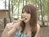 Akiho Yoshizawa pretty Asian milf enjoys sex outdoors