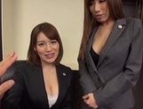 Hot milfs Erika Kitagawa and Misuzu Kawana have sex in the office picture 11