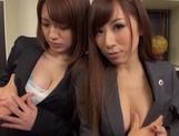 Hot milfs Erika Kitagawa and Misuzu Kawana have sex in the office picture 13