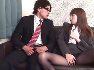 Japanese AV Model horny office girl seduces her co worker