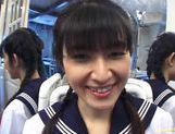 School girl Kazuha Mizumori rides cock! picture 11