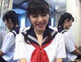 School girl Kazuha Mizumori rides cock! picture 13