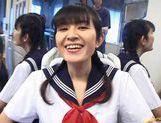 School girl Kazuha Mizumori rides cock!
