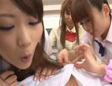 Three sweet Japanese school girls suck on one throbbing cock and eat cum picture 15