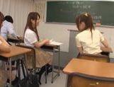 Three sweet Japanese school girls suck on one throbbing cock and eat cum