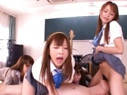 A horny lucky guy fucks three schoolgirls in a hot gangbang.