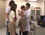 Sweet Japanese schoolgirls in wild cum filled orgy picture 3