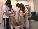 Sweet Japanese schoolgirls in wild cum filled orgy picture 4