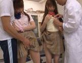Sweet Japanese schoolgirls in wild cum filled orgy picture 5