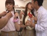 Sweet Japanese schoolgirls in wild cum filled orgy picture 7
