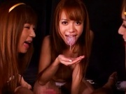 Cute Asian schoolgirls giving a blowjob
