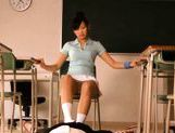 Sexy schoolgirl Nana Ogura msturbates a big cock with her feet. picture 10
