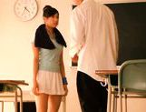 Sexy schoolgirl Nana Ogura msturbates a big cock with her feet. picture 3