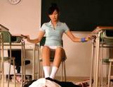 Sexy schoolgirl Nana Ogura msturbates a big cock with her feet. picture 8