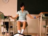 Sexy schoolgirl Nana Ogura msturbates a big cock with her feet. picture 9