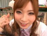 Amazing Japanese girl Rina Kato gives great blowjob at school picture 11