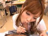 Amazing Japanese girl Rina Kato gives great blowjob at school picture 13