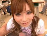 Amazing Japanese girl Rina Kato gives great blowjob at school picture 1