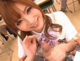 Amazing Japanese girl Rina Kato gives great blowjob at school