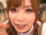 Amazing Japanese girl Rina Kato gives great blowjob at school picture 8