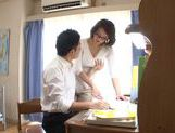 Busty MILF Mio Takahashi lets a student feast on her Ttts picture 3