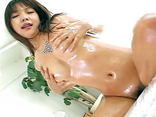 Big Breasted MILF Fucks Her Own Oiled Up Pussy