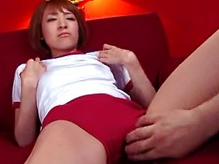 Sexy Japanese AV model gets fingered through her red knickers