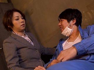 Tamaki Nakaoka Asian office worker gives hot head