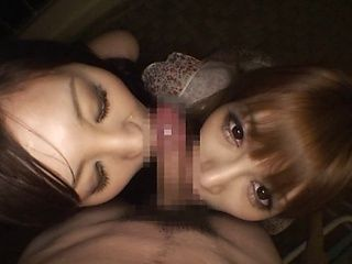 Tag Team Blowjob With Kirara Asuka And A Friend Sharing Cum