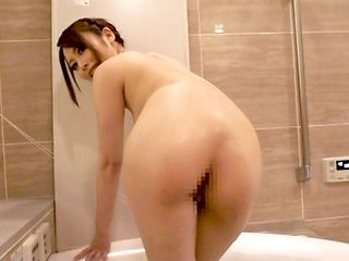 Sweet Japanese amateur lady Ayu Sakurai shows off her pussy in a bath
