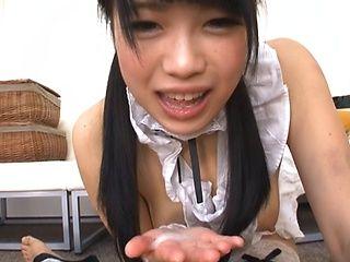 Busty Asian teen Yuri Sato likes to deep suck