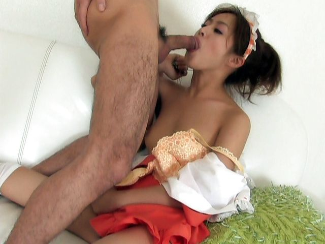 Sexy maid Ami Matsuda licks and fucks hard for pleasure