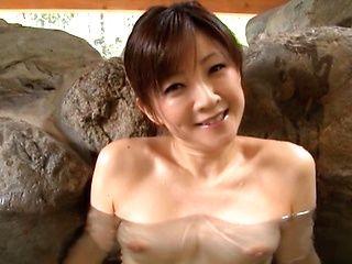 Ai Komori hot mature Japanese babe gets tit fuck outdoors