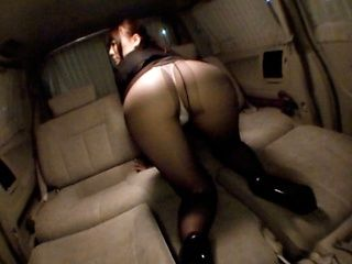 Rinka Kiriyama In Stockings Give A Blowjob In A Car