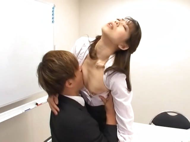 Horny guy teases and fucks a mature office lady with tiny tits
