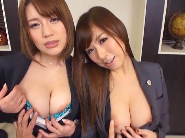 Hot milfs Erika Kitagawa and Misuzu Kawana have sex in the office