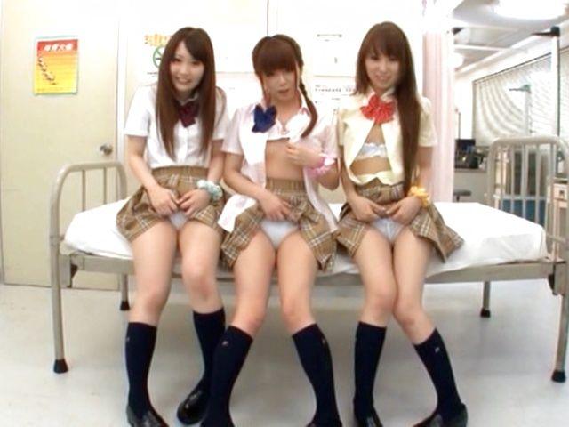 Sweet Japanese schoolgirls in wild cum filled orgy