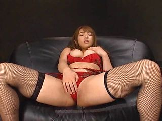 Shiori Kamisaki stunning Asian babe in red masturbates solo