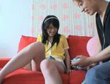 Hot footjob and cum on Asian babe's face picture 8