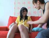 Hot footjob and cum on Asian babe's face picture 9