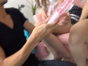 Three nasty Asian lesbians playing with one hard and lucky cock