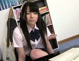 Sweet Asian girl Ai Uehara in school uniform adores hardcore picture 4