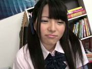 Sweet Asian girl Ai Uehara in school uniform adores hardcore