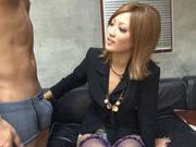 Naughty and cock hungry babe Aika sucking and pussy pounded