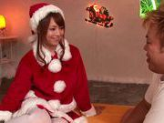 Girl Santa Akiho Yoshizawa has a special banging present for this guy